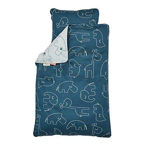 Done By Deer Sleepy INT–Bettbezug und Kissenbezug blau