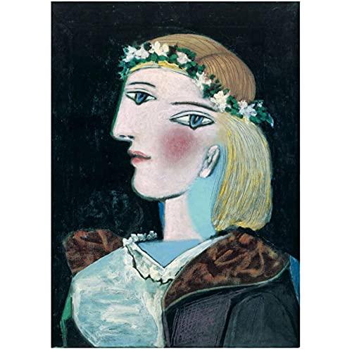 IUYBHRYI Pablo Picasso Marie-Thérèse con una Guirnalda Impresión de Arte de Pared Póster Pinturas al óleo Lienzo para Vivir Decoración del hogar-50x75cm Sin Marco