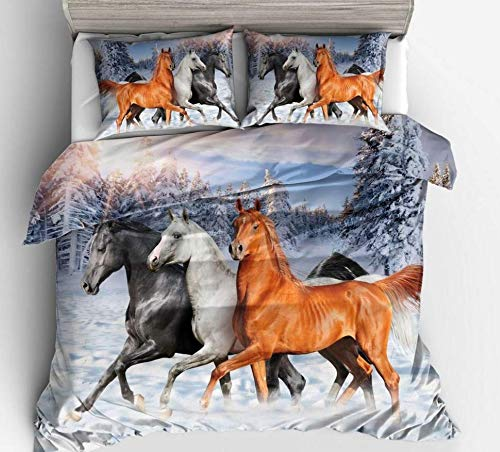 JZZCIDGa Snow Horse DuvetCoverSet3PiecesBeddingQuiltCoverBeddingUltraSoftDouble