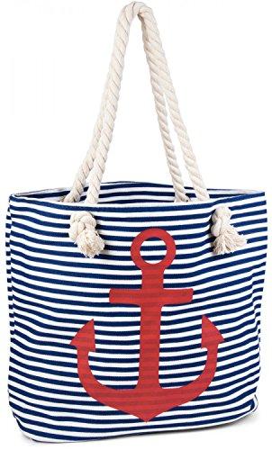 styleBREAKER Strandtasche in Streifen Optik mit Anker, Schultertasche, Shopper, Damen 02012038, Farbe:Blau-Weiß/Rot
