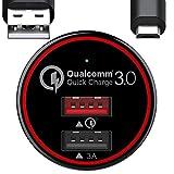 BC Master 34.5W Ricarica Rapida Quick Charge 3.0 + 3A Caricabatterie da Auto, Caricatore da Auto con 2 Porte per Samsung S6 S7 edge Note 4 Note 5, Huawei. Micro Cavo USB da 1m Incluso - Nero(QC 3.0), Garanzia 2 Anni