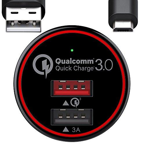 BC Mestre 34.5W recarga rápida Quick Charge 3.0 + 3A Car Charger, carregador de carro com 2 Portas de ponta Samsung S6 S7 Notas Notas 4 5, Huawei. Cabo USB Micro de 1m Incluído - Preto (QC 3.0), Anos de Garantia 2