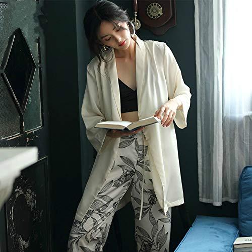 DFDLNL Conjunto de Pijamas Mujer Kimono de Seda de Hielo Ropa de hogar para Mujer Traje de Dos Piezas Ropa de Dormir Conjuntos de Pijamas Pijams Blancos