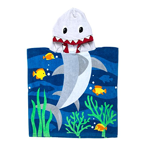 Florica 100% Baumwolle Kinder Jungen Mädchen Kapuzenponchos Schwimmen Bad Handtuch (Hai)