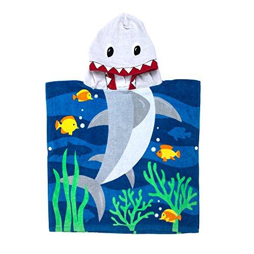 Florica Algodón Niños Niñas Encantador Ponchos Encapuchados baño Toalla de baño(Tiburón)