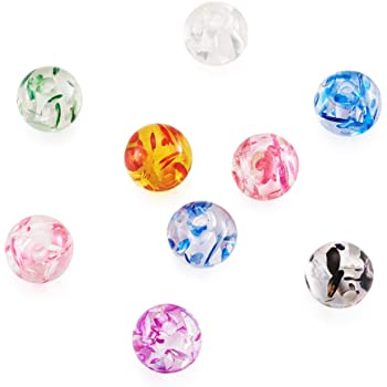 100pcs Resin Beads Imitation Amber Round Mixed Color 8mm For DIY Jewelry Making
