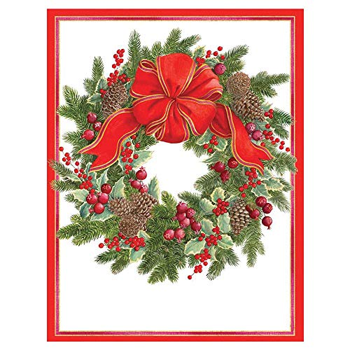 Caspari Wreath with Greens & Berries Boxed Christmas Cards - 32 Cards & Envelopes