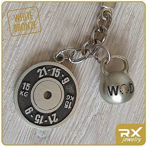 Workout Key Chain Wod Fran 21-15-9 Weight Plate and Kettlebell Fine Motivation Gift for CF Athletes Exercise Bronze Keychain Fitness Accessories Fit Coach Present