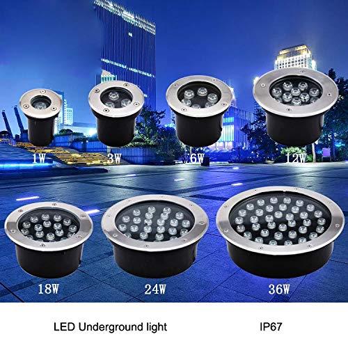 Ny LED Utomhus Golv Golv Underground 1W / 3W / 5W / 6W / 7W / 9W / 12W / 15W / 18W Buried Lamp Spot Landscape Light a (Emitting Color : RGB, Wattage : 24W)