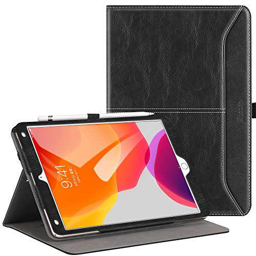 Ztotops Case for iPad 10.2 2019 (7th Generation),Premium Leather Business Folio Case Cover,with Stand,Pocket and Auto Wake/Sleep Function,Multi-angle Cover for iPad 10.2 inch,Black