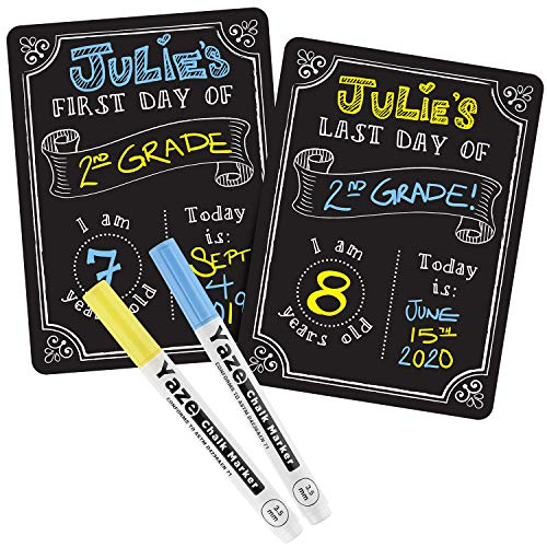 First Day of School Chalkboard with 2 Chalk Markers - Dry Erase Back to School Sign - 1st Day Reusable Board - Double-Sided First and Last Day Board for Kids - 12x9' - Perfect for All Grades
