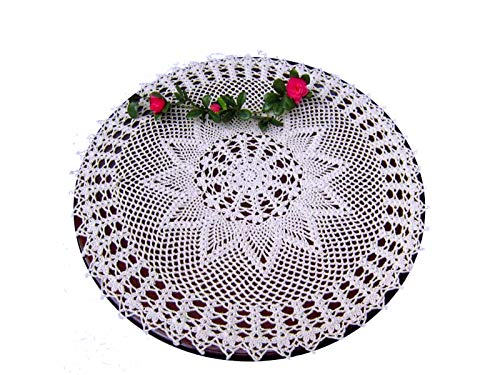 Laivigo New Handmade Crochet Lace Round Table Cloth Doilies Doily,24 Inch,White