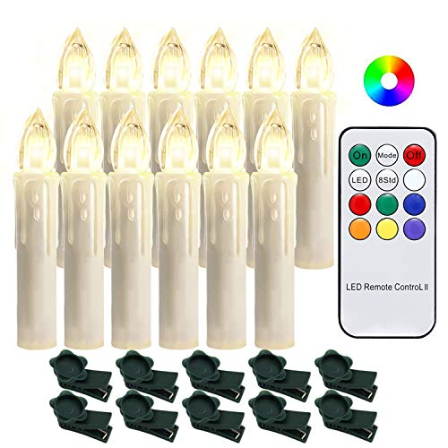 Hengda 20 Stück LED Weihnachtskerzen mit Fernbedienung RGB Kerzen Lichterkette Christbaumkerzen Kabellos LED Kerzenlichter Weihnachts