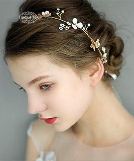 FXmimior - Tiara per capelli dorata da sposa, decorazione floreale con cristalli, accessorio per capelli (oro)