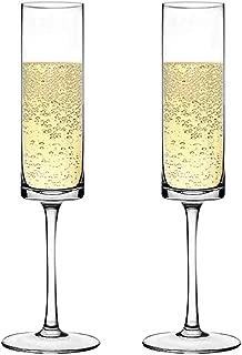 Premium Crystal Champagne Flute Glasses Elegantly Designed Hand Blown Champagne Glasses, Lead Free, Set of 2