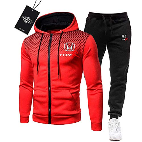 Martin de Los Hombres Chandal Conjunto Trotar Traje Ho.n-da.s Hooded Zipper Chaqueta + Pantalones Deporte R de Los Hombres /  Rojo/L