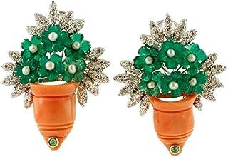 Orecchini Cestino di Fiori Corallo, Smeraldi, Diamanti e Agata Verde