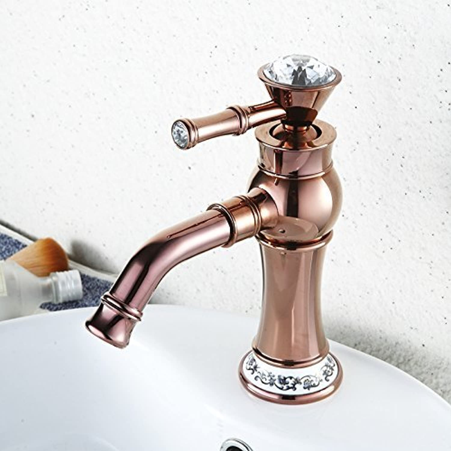 The wash Basin Bath Rooms Sinks Faucet Diamond Decoration Porcelain Single Hand Mixer for hot and Cold Water tap The tap