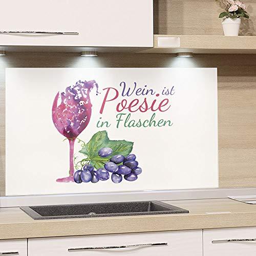 GrazDesign Spatbescherming keuken fornuis, wijn spreuk met glas en druiven, keukenachterwand van echt glas 80x50cm