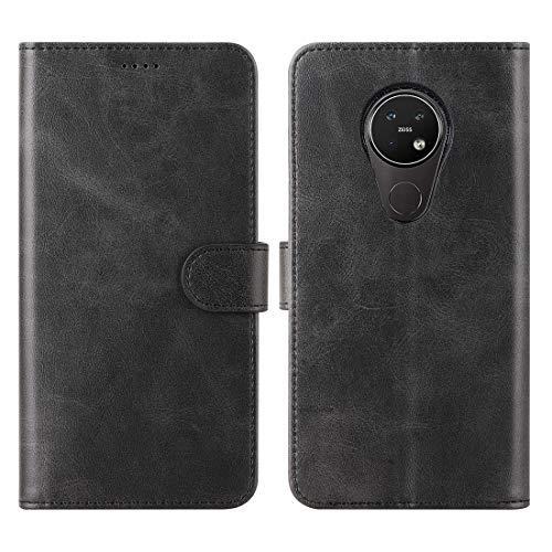 CRESEE Nokia 7.2 / Nokia 6.2 Hülle Case, PU Leder Tasche mit 3 Kartenfächer, Magnetverschluss Schutzhülle Flip Cover Standfunktion Stoßfest Brieftasche Fall Handyhülle für Nokia 7.2/6.2 (Schwarz)