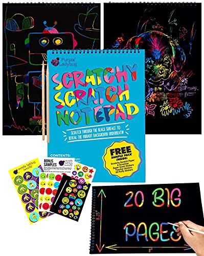 Bloc de Dessin de Carte à Gratter pour Enfants de Purple Ladybug 20 Feuilles de Papier Noir avec Fond Arc-en-Ciel pour Écriture, Jeux, Dessins - Style