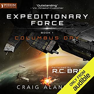 Columbus Day     Expeditionary Force, Book 1              Written by:                                                                                                                                 Craig Alanson                               Narrated by:                                                                                                                                 R.C. Bray                      Length: 16 hrs and 23 mins     409 ratings     Overall 4.6