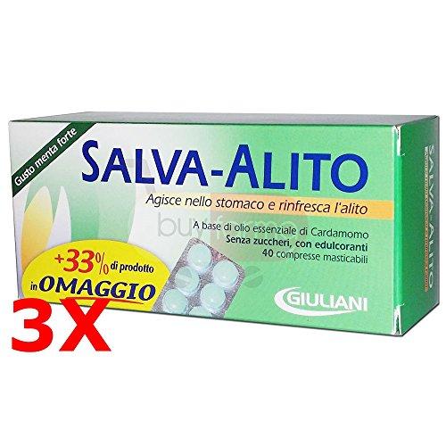 3X SALVA ALITO GIULIANI DA 30 CPR - 120 Compresse Masticabili Gusto Menta Forte - ALITO FRESCO