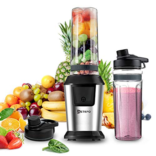 AETKFO Smoothie Maker, 500Watt Mini-Standmixer, Multifunktion Smoothiemaker mit Tritan 2 * 600ml Travel Sportflaschen