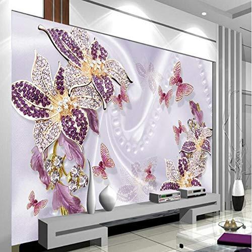 Shuangklei Purperrood Europees paars luxe sieraden bloem TV woonkamer De klantspecifieke 3D 200 x 140 cm.