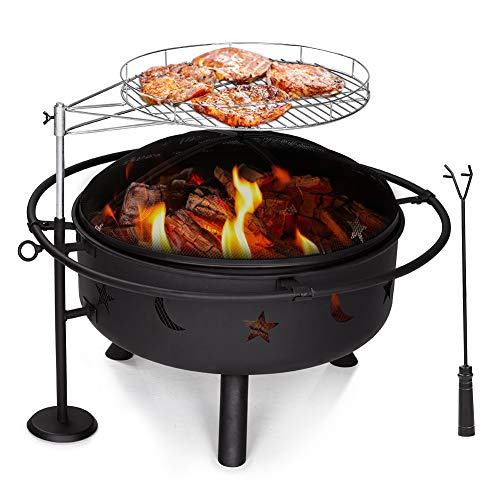Yardom Fire Pit with Grill, Star Moon Cutouts, Rain Cover Included, Black, 2 in 1 Firepit with Height & Degree Adjustable Cooking Grill, 30' Heavy Duty Outdoor Wood Burning Firepit Bowl