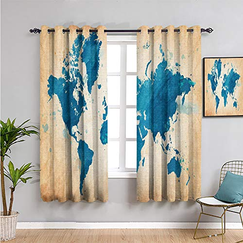 map Room Darkened Heat Insulation Curtain, Curtains 39 inch Length Artistic Vintage World map with Watercolor Brushstrokes on Old Backdrop Print 2 Panel Sets Navy Blue Sand Brown W54 x L39 Inch
