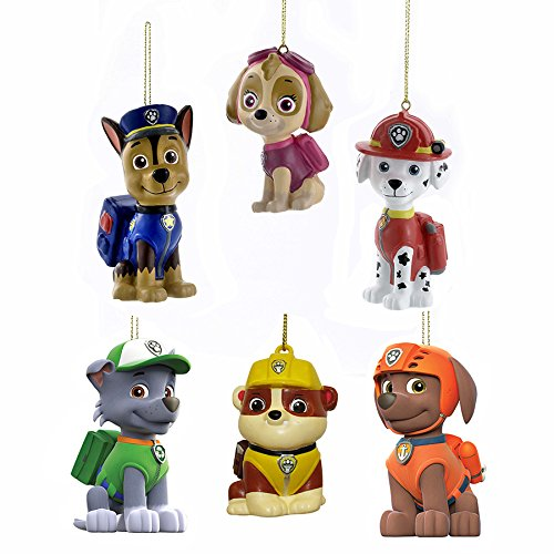 Kurt Adler Paw Patrol Blow Mold Ornament Complete Set of 6,Multi