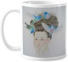 Pretty Girl Blue Bird Chinese Painting Classic Mug White Pottery Ceramic Cup Gift With Handles 350 ml