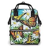 AOOEDM Mochila grande para pañales con mariposas y margaritas, mochila multifuncional impermeable para mamás para mamás y papás