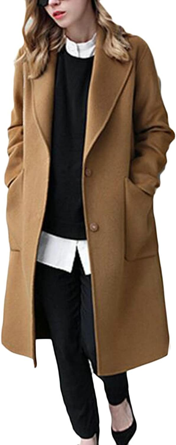 CBTLVSN Womens Plus Size Long Sleeve WOL Blend Two Button Solid Pea Jacket