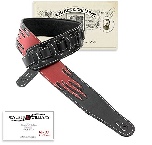 Walker & Williams GP-33 Red & Black Flames Padded Glove Leather Guitar Strap