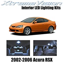 Cool White Interior LED Package for 2002-2006 Acura RSX Package content (10 PCS): Map lights (2), Dome lights(2), Trunk lights (2), License plate lights (2), Spare lights (2) 5X Brighter than Factory Bulbs. Lasts 10X Longer. 50% Less Power Consumptio...