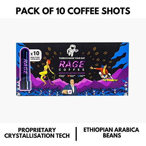Rage Coffee - Premium 100% Ethiopian Arabica Instant Coffee Crystals Infused with Natural Vitamins - 3.25 GMS x 10 Tube Shots | Award Winning Healthy Blend