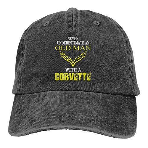 huatongxin Unterschätze Niemals einen Alten Mann mit Einer Corvette Cowboy Caps Dad Baseball Hut Womens Men 's Black
