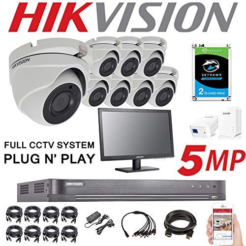 HIKVISION, sistema di sicurezza CCTV con videoregistratore, con 8 telecamere esterne da 5 MP, risoluzione 4K, a 8 canali, 2 TB, H.265+, 2,8 mm, con visione notturna, DS-7208HUHI-K1 DS-2CE56H1T-ITM