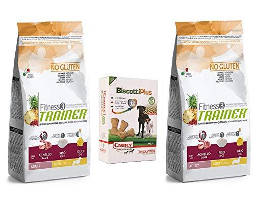 Trainer Fitness 3 No Gluten - 2 Sacchi da 2 kg Mini Adult Agnello Riso e Olio monoproteico, Piu Omaggio Pacco Biscotti Plus crancy