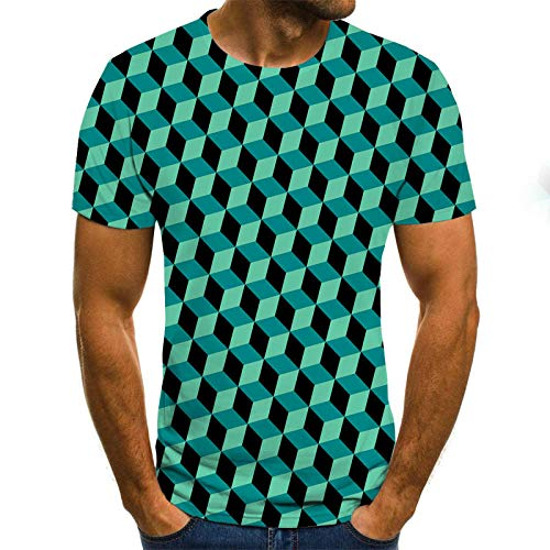 Hombre 3D Graphic Print Camisetas Camiseta Tridimensional de Escalera de Cubo Azul Camisa 3DT Masculina de Manga Corta Cuello Redondo impresión Digital Casual de Manga Corta-Color_XXS