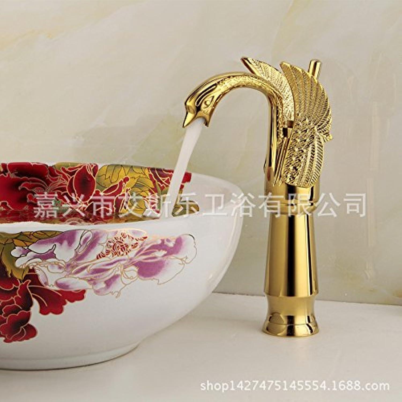 Bijjaladeva Antique Bathroom Sink Vessel Faucet Basin Mixer Tap The copper cold water faucet gold plated faucet swan basin mixer high-copper hot and cold