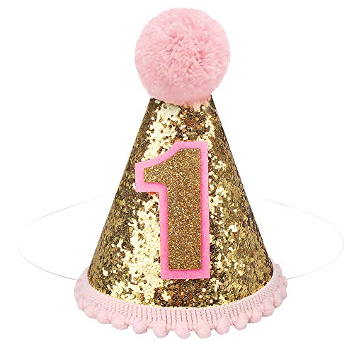 ANYI16 Gold Glitter Sparkle Princess 1st Birthday Hat with Adjustable Headband for Baby Girl Party Supplies (Cone hat)