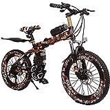Wangkai Vélo Tout Terrain Amortisseur Hydraulique de Vélo de Montagne a l'avant et a L'arrière Léger Pliable Facile a Transporter,Brown