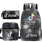 Travel TIK Tok Girls School Casual Daypacks Set Mochila Escolar para Estudiantes + Bolso pequeño + Bolso para bolígrafo Conjunto de Tres Piezas V-1