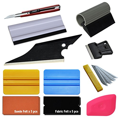 EHDIS Window tinting Kit Vinyl Wrap Application Install Tool Set with Felt Tint Squeegee,Car Cleaning Squeegee,Film Cutting Tools,Vinyl Remove Scraper