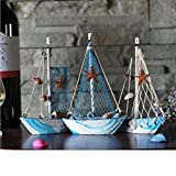 KESOTO 3 Stück Holz Segelschiff Deko Maritim Dekoartikel MEER Schiff Boot - 4