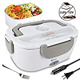 Benooa Electric Lunch Box for Car and Home,Portable Food Heater 12V/110V Food Warmer Heating Container 2 In 1 Food-Grade Stainless Steel Food Container with Fork and Spoon for Men/Women,1.5L