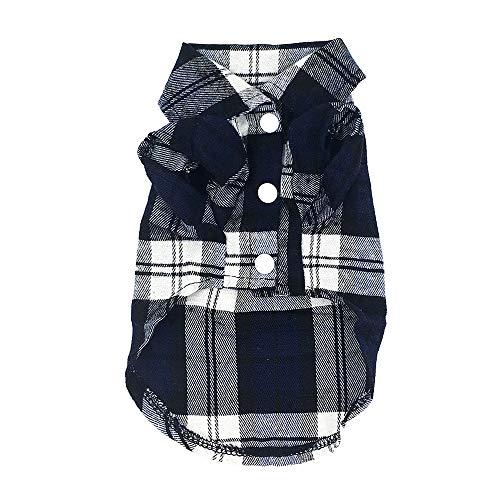 Eastlion Chemise à carreaux pour chien, vêtement pour chien, vêtement pour chien, printemps, été, t-shirt pour chiot, petit chien, chat, respirant et confortable (bleu M)
